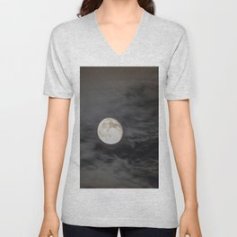 Waning moon and clouds with Saturn Unisex V-Neck