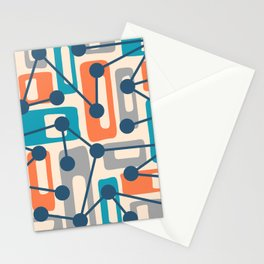 Mid Century Modern Atomic Nucleus Pattern 427 Stationery Cards