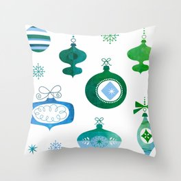Green & Blue Vintage Ornaments Throw Pillow