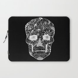 Human skull with hand- drawn flowers, butterflies, floral and geometrical patterns Laptop Sleeve