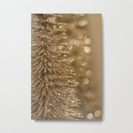 Golden Christmas Gliter Tree Decoration Metal Print
