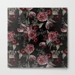 Dutch Vintage Midnight Roses Bouquets Pattern Metal Print