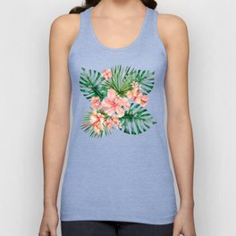 Tropical Jungle Hibiscus Flowers - Floral Unisex Tank Top