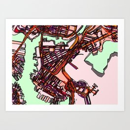 Abstract Map- East Boston Art Print