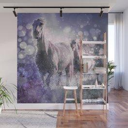 Blue Wild Horses Mixed Media Art Wall Mural
