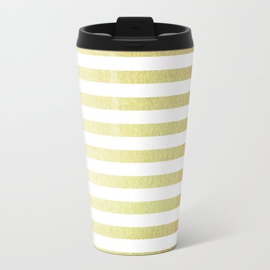 Simply Striped 24K Gold Metal Travel Mug