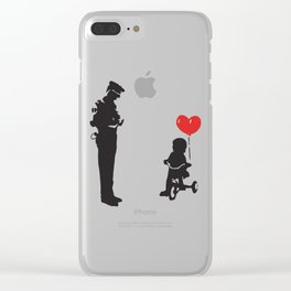 Banksy Policeman & girl on bike, Streetart Street Art, Grafitti, Artwork, Design For Men, Women, Kid Clear iPhone Case