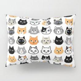 Cute Cats | Assorted Kitty Cat Faces | Fun Feline Drawings Pillow Sham