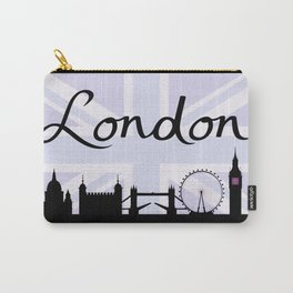 London Script on Union Jack Sky & Sites Purple Carry-All Pouch