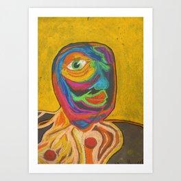 Smile your yellow Unicycle  Art Print