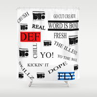 80s Shower Curtains featuring 80s Baby! by Kimberly J Graphics