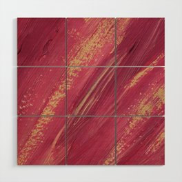 Pink and yellow paint smears Wood Wall Art