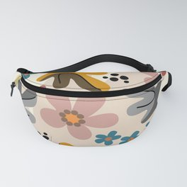 Minimal abstract nature II with leaves and flowers Fanny Pack