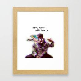 Happy faces, empty hearts Framed Art Print