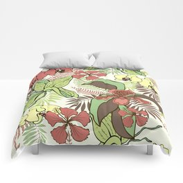 Tropical flowers and leaves. Orchids and hibiscuses. Comforters