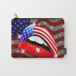 USA Flag Lipstick on Sensual Lips Carry-All Pouch