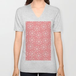 Modern hand painted coral white Christmas snow flakes Unisex V-Neck