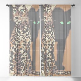 1912 Munich Zoo Green-Eyed Leopold Vintage Advertising Poster Sheer Curtain