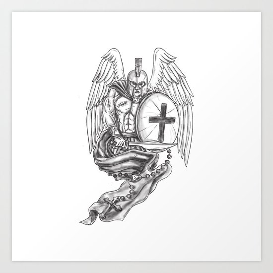 f8e95efe8a931 Spartan Warrior Angel Shield Rosary Tattoo Art Print by patrimonio |  Society6