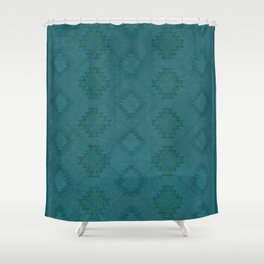 Moroccan Teal Painted Desert Shower Curtain