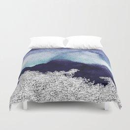 Silver foil on blue indigo paint Duvet Cover