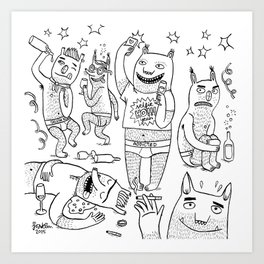 Party monsters Art Print