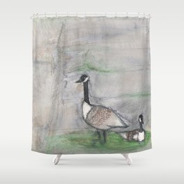 Goose and Gander Nest watercolor Shower Curtain