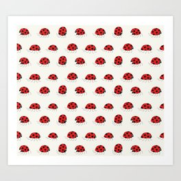 Ladybug rush - Pattern Art Print