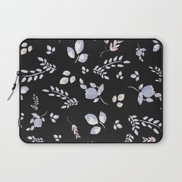 Spring watercolor leaves & tulips on charcoal background Laptop Sleeve