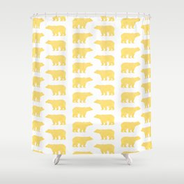 Gold Bears - foil glitter sparkle gold pattern print bear golf golfing nature trendy hipster sports Shower Curtain