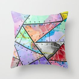 Frankienstein Sewing Abstract Art Watercolour and Metal II Throw Pillow