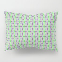 Argyle Diamond Shape Plaid Pattern Dark Purple, Light Purple, Green and Pastel Green Polka Dots Pillow Sham