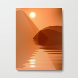 Orange and copper abstract seascape Metal Print