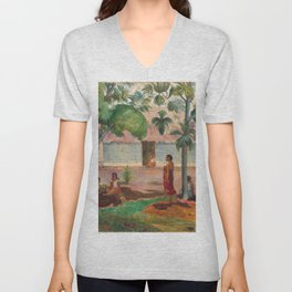 The Large Tree by Paul Gauguin, 1891 Unisex V-Neck
