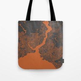 Istanbul Map orange Tote Bag