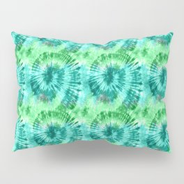 Summer Vibes Tie Dye Spirals in Blue Green Pillow Sham