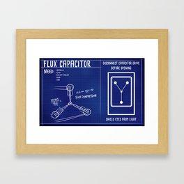 flux capacitor blue print Framed Art Print