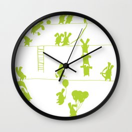 Green Bunnies Wall Clock