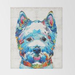 Colorful West Highland Terrier Dog Art Sharon Cummings Throw Blanket