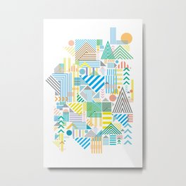 Geometric Mountain Landscape Metal Print