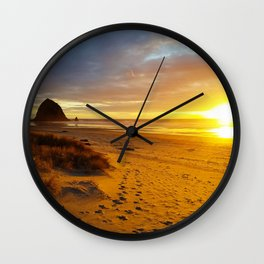Cannon Beach Oregon at Sunset Haystack Rock Wall Clock