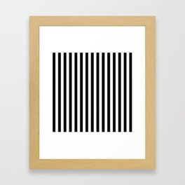 Stripe Black & White Vertical Framed Art Print