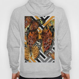 AWESOME  ORANGE-YELLOW BUTTERFLY GRAPHIC MODERN ART Hoody