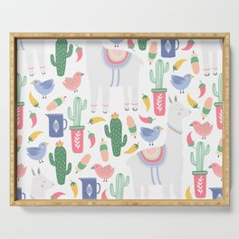 Llama and Cactus and Birds Serving Tray
