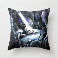 hayao miyazaki Throw Pillows featuring Nausicaä, Tribute to Hayao Miyazaki by Don Giancarli