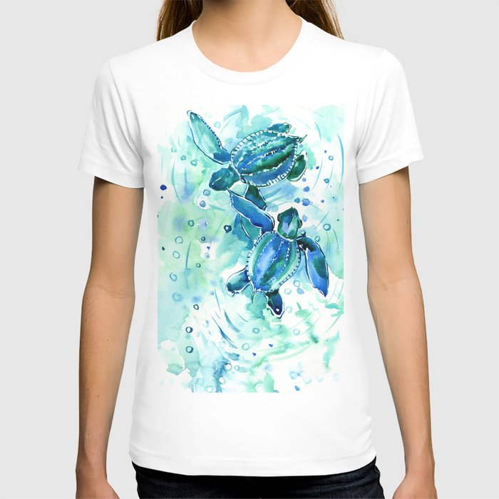 Turquoise Blue Sea Turtles in Ocean T-shirt
