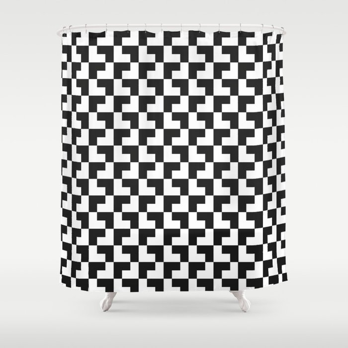 Black and White Tessellation Pattern - Graphic Design Shower Curtain