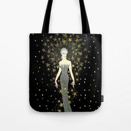 "Art Deco Sepia Illustration ""Star Studded Glamor"" Tote Bag"