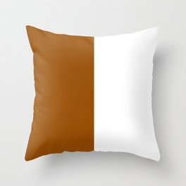 White and Brown Vertical Halves Throw Pillow