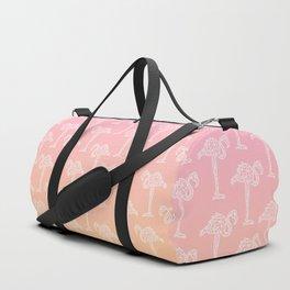 Modern tropical white geometric flamingo on sunset ombre pink orange gradient Duffle Bag